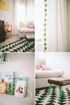 Love all the bright colors with bright, white walls! That foot stool is amazing! Love the pom pom trimmed curtains too!