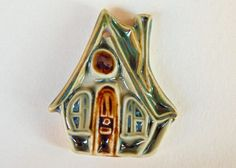 Handmade Ceramic pendant boho Fairy house Pendant by Majoyoal