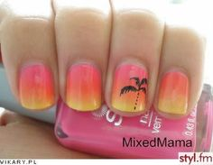 summer nails :) cute for toes with palm tree on big toe.