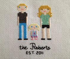 Such a great idea!!  CUSTOM Framed Cross Stitch Portrait by BritRoCustoms on Etsy, $35.00