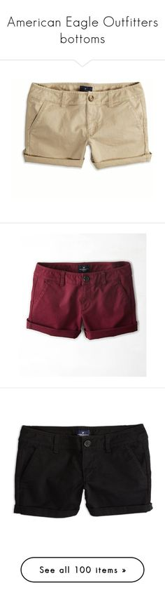 """""""American Eagle Outfitters bottoms"""" by dancer11forever ❤ liked on Polyvore featuring shorts, bottoms, pants, jeans, khaki, american eagle outfitters, cuffed shorts, midi shorts, american eagle outfitters shorts and khaki shorts"""