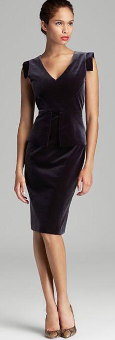 Black Halo Stretch Velvet Peplum Dress