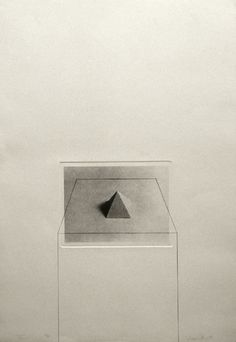 """Liliana Porter, """"Untitled with Pyramid"""", Photo etching and pencil, Plate size: 31 ½ x 1974 Conceptual Drawing, Graphic Art, Graphic Design, Photocollage, Italian Artist, Gravure, Figurative Art, Sculpture Art, Printmaking"""