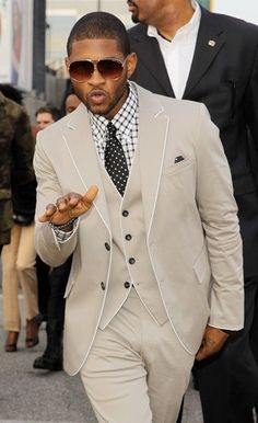 Usher wearing Tan Waistcoat, White and Black Gingham Dress Shirt, Black and White Polka