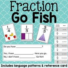 Fraction Go Fish is a version of go fish where students practice the language of fractions by asking students for a specific fraction. A cheat sheet is included so that students practice the correct fraction name.