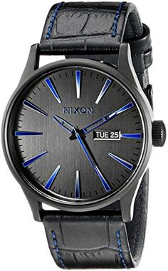 Men's Wrist Watches - Nixon Mens A1052153 Sentry Black Stainless Steel Watch with Genuine Leather Band * You can find more details by visiting the image link. (This is an Amazon affiliate link)