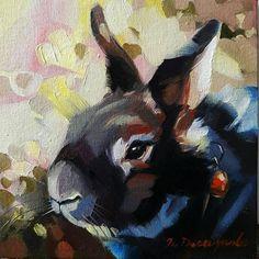 Black bunny painting on canvas in frame, Decorative Rabbit portrait oil, Miniature animals art, Rabb Bunny Painting, Oil Painting On Canvas, Canvas Art, Framed Canvas, Framed Art, Mini Paintings, Original Paintings, Easter Paintings, Lapin Art