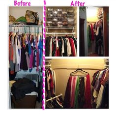 """Small closet was converted into a functional """"walk-in closet"""".  -Shoe (29 pairs) storage above on left & right by Magic Drawers.  -On left dresses and sweaters in the back top rack. Skirts and pants lower in front rack.  -On right top rack holds long sleeve and blouses. Bottom rack holds short sleeves and tank tops. -More storage to come..."""