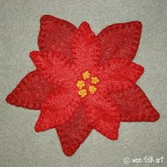 I realize that I shared a Poinsettia Applique Block a few weeks ago. Basically, for that block I simply took the poinsettia I made for the. Free Applique Patterns, Sewing Appliques, Felt Patterns, Free Pattern, Felt Applique, Flower Applique, Felted Wool Crafts, Felt Crafts, Felt Christmas Ornaments