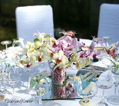 Addobbo con origami e orchidee per matrimonio
