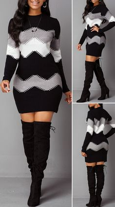Hot Sale & Mock Neck Long Sleeve Chevron Pattern Sweater Dress - Source by - Cute Casual Outfits, Sexy Outfits, Chic Outfits, Outfits Dress, Sweater Dress Outfit, Woman Outfits, Pretty Dresses, Beautiful Dresses, Fashion Looks