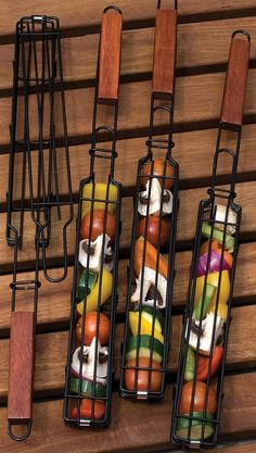 Kebab Baskets! What a great BBQ idea, for example, roasting veggies over an open fire. #product_design
