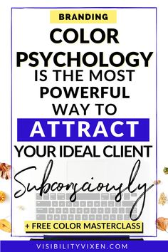 Color Psychology Quote | Color Psychology is the most powerful way to attract your ideal client subconsciously. Business quotes for attracting clients. How to attract your ideal client with the power of color psychology. Facebook Marketing Strategy, Online Marketing Strategies, Digital Marketing Strategy, Media Marketing, Social Media Branding, Branding Your Business, Personal Branding, Psychology Quotes, Color Psychology