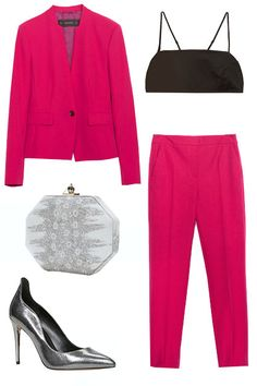 5 Unexpected, Fancy Outfits For Girls Who Hate The LBD #refinery29  http://www.refinery29.com/black-tie-dress-alternatives#slide1  To be clear: This is not your average work suit. The fuchsia blazer and pant boast major look-at-me vibes (in a good way) while the bralet top turns up the dial on edgy.