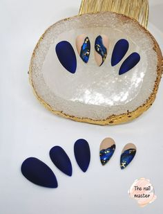 Available in various shapes and sizes. Blue Matte Nails, Gold Nails, Nude Nails, Acrylic Nails, Stick On Nails, Glue On Nails, Best Press On Nails, Blue Press, Artificial Nails