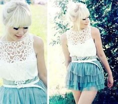 feminie blouse with tulle skirt