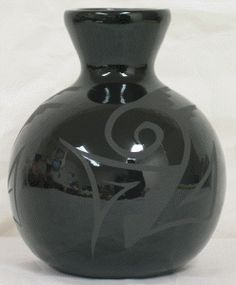 "Black on Black Pottery - Ball Vase. 5-1/2"" x 5"". Authentic Native American Pottery hand painted by Navajo and Ute Indian Artists. Certificate of Authenticity with each piece. Southwest Pottery.  $36.95"