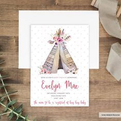 Boho Tepee Baby Shower Invitation, perfect for a mama raising her tribe! Available printed or as a DIY printable from June Arbor Designs/