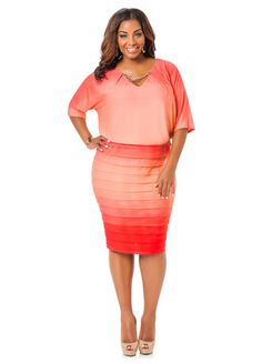 Ombre Blouson Pleated Hem Dress - Ashley  Stewart