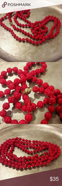 """Beautiful Vintage Heavy Red Coral Bead Necklace Hand knotted, with a 14KT gold plated ball clasp. 58"""" Long so it can be worn as a double strand. Vibrant red in color. Vintage Jewelry Necklaces"""