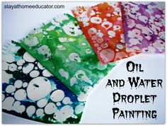 Teaching Matter and Mixtures with Oil and Water Painting Oil and water droplet painting is the result of mixing cooking oil and colored water to create a beautiful, slightly marbleized effect…or you can invite your kids to help you make some of your own. Kids Crafts, Crafts For Teens, Preschool Activities, Projects For Kids, Water Crafts Preschool, Preschool Art Lessons, Process Art Preschool, Easy Crafts, Preschool Painting