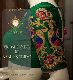 Here's a rundown of best designer blouse shops in Bangalore: Finding a good designer blouse which matches up with your saree can be a tough task. Blouse Designs Silk, Bridal Blouse Designs, Blouse Patterns, Blouse Desings, Blouse Models, Peacock Design, Beautiful Blouses, Work Blouse, Embroidered Blouse