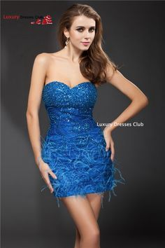 Beading Strapless Chiffon Mini A-Line Cocktail Dress