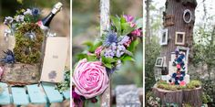 Inspirational photoshoot for a wild, colourful woodland wedding from photographer Ilaria Petrucci for british-bride.co.uk. Flowers, moss, champagne, flower covered umbrella, blue grooms suit, confetti, tree trunk cake stand Woodland Wedding Inspiration, Grooms, Confetti, Champagne, British, Suit, Photoshoot, Inspirational, Table Decorations