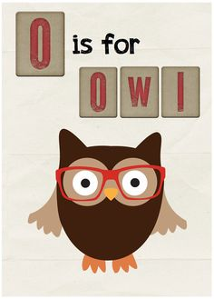 O is for Owl Digital Art Print  Hipster Owl by LilFoxPaperShop, $14.95