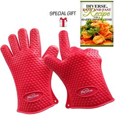 Carote Silicone Oven Mitts,Professional Heat Resistant Non-Slip Surface Kitchen Gloves for Cooking,Grey