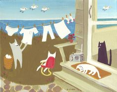 Whimsical Beach Seascape Cat Art Painting - Seaside or Lake by Sara Pulver