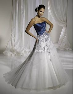Non Traditional Wedding Dress in Colored Bodice and White Skirt