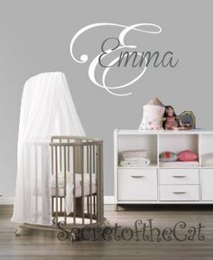 Wall decal nursery - Name Vinyl Decal - Name Monogram decal - wall sticker. $38.00, via Etsy.