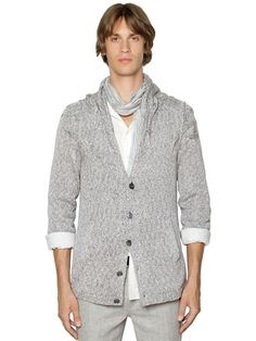 JOHN VARVATOS - CABLE KNIT COTTON CARDIGAN - GREY