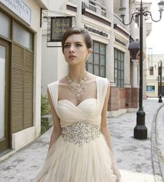 I would actually wear this!! | Romantic Ivory Wedding Dress With Dazzling Diamonte Belted Waistline.