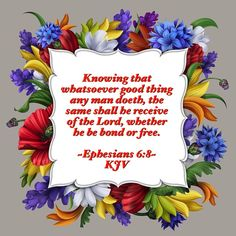 Knowing that whatsoever good thing any man doeth, the same shall he receive of the Lord, whether he be bond or free. ~Ephesians 6:8~ KJV she