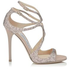 JIMMY CHOO Lance Ballet Pink Suede Sandals With Hotfix Crystals. #jimmychoo #shoes #s