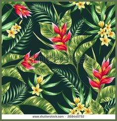Seamless pattern with tropical flowers in watercolor style - Shutterstock