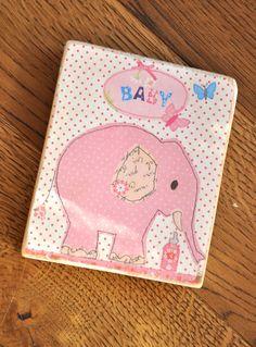 Różowy słoń - tabliczka na starej deseczce - OLDTREE - Dekoracje pokoju dziecięcego