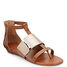 49% off BCBG Max Azria - Sandals Angelika Thong Faux Leather Toffee - $49.99