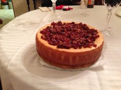 Holiday decadence. Maple cheesecake topped with brown sugar candied bacon crumbles.