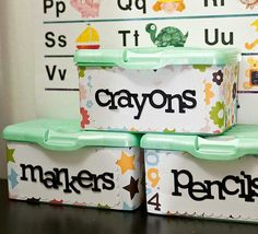 /playroom/children's art/work spaceUse old wipes containers to organize your classroom. I think could work for organizing supplies in a middle school classroom. I like that the containers are decorated. Baby Wipe Box, Wipes Box, Wipes Case, Room Ideias, Activities For Kids, Crafts For Kids, Kids Diy, Preschool Ideas, Baby Wipes Container