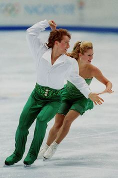 Canada's Shae-Lynn Bourne and her partner Victor Kraatz perform during the Olympic Ice Dancing competition at the 1998 Nagano Winter Olympic Games.