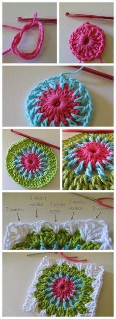 Transcendent Crochet a Solid Granny Square Ideas. Inconceivable Crochet a Solid Granny Square Ideas. Love Crochet, Diy Crochet, Crochet Crafts, Yarn Crafts, Crochet Flowers, Crochet Projects, Diy Crafts, Granny Square Crochet Pattern, Crochet Blocks