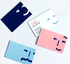 business cards -- I love the simplicity of this branding with the motif of using punctuation marks to create engaging smiley faces, which creates a cute and interesting image. The Back is well designed too with incorporating the face into their logo. Corporate Design, Branding Design, Identity Branding, Visual Identity, Personal Identity, Brochure Design, Identity Card Design, Stationery Design, Business Card Design Inspiration