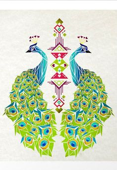 Peacock Symmetry Art Print- This could be a beautiful tattoo