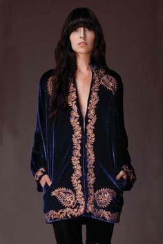 frommoon2moon:  Winter Kate 'Sweet Sargeant' Velvet Embroidered Jacket  Blue Velvet Jacket