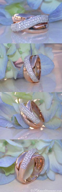 Elegant: Crossover Diamond Ring in Rosegold Diamond Rings, Diamond Jewelry, Gold Jewelry, Fine Jewelry, Jewelry Making, Jewelry Gifts, Jewelry Accessories, Jewelry Design, Crossover