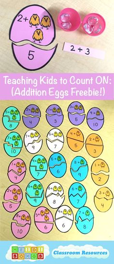 Teaching Kids to Count On- This post has EIGHT different ways to help kids learn how to count on, plus a great Addition Eggs Freebie!  #kindergarten: