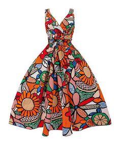 Orange Floral Bow-Accent Surplice Fit & Flare Dress #zulilyfinds